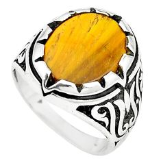 Natural brown tiger's eye 925 sterling silver mens ring size 8.5 a84776