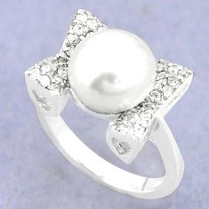 Natural white pearl topaz 925 sterling silver ring jewelry size 7 a84782