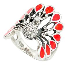 925 sterling silver red coral enamel peacock ring jewelry size 6.5 a84912