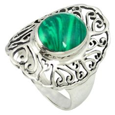 Natural green malachite (pilot's stone) 925 sterling silver ring size 8.5 a84949