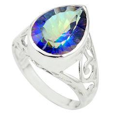 Multi color rainbow topaz 925 sterling silver ring jewelry size 8 a84983