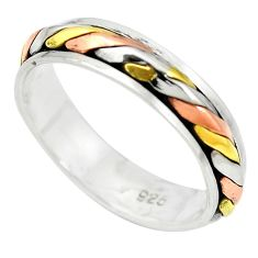 Victorian 925 sterling silver two tone spinner band ring jewelry size 6.5 a85298