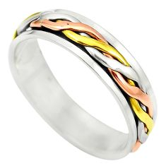 Victorian 925 sterling silver two tone spinner band ring size 5.5 a85308