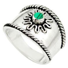 Green malachite (pilot's stone) 925 sterling silver ring size 8.5 a85350