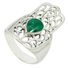 Malachite (pilot's stone) 925 silver hand of god hamsa ring size 6.5 a85378