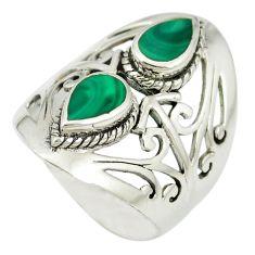 Green malachite (pilot's stone) 925 sterling silver ring size 6.5 a85395