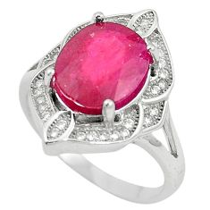 Natural red ruby topaz 925 sterling silver ring jewelry size 7.5 a85812