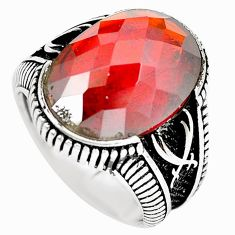 Red garnet quartz black topaz 925 sterling silver mens ring size 9 a87009