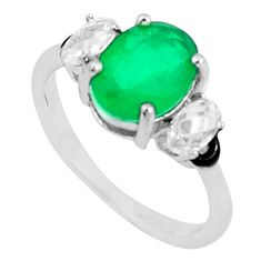 3.47cts emerald (lab) topaz enamel 925 silver solitaire ring size 6 a87557