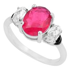 4.24cts red ruby (lab) topaz enamel 925 silver solitaire ring size 6 a87573