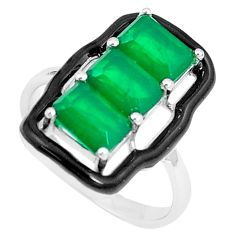 4.74cts green emerald (lab) enamel 925 silver solitaire ring size 6 a87618