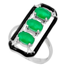 5.97cts green emerald (lab) topaz enamel 925 silver ring jewelry size 8 a87668