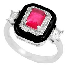 2.12cts red ruby (lab) topaz enamel 925 sterling silver ring size 6 a87742