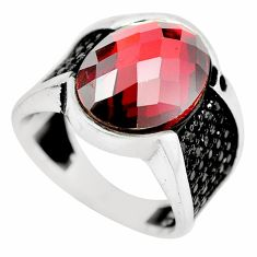 11.38cts red garnet quartz topaz 925 sterling silver mens ring size 10 a88078