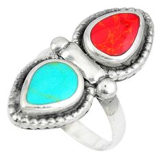 925 sterling silver 7.25gms red coral turquoise enamel ring size 7 a88095