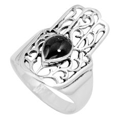 5.26gms black onyx 925 silver hand of god hamsa ring jewelry size 9 a88103