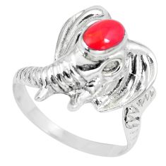 5.02gms red coral enamel 925 sterling silver elephant ring jewelry size 8 a88107