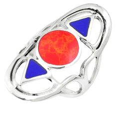 6.65gms red coral lapis lazuli enamel 925 sterling silver ring size 6.5 a88192