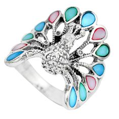 6.69gms multi color blister pearl enamel 925 silver peacock ring size 8.5 a88202