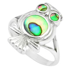 5.89gms green abalone paua seashell 925 silver owl ring size 8.5 a88512