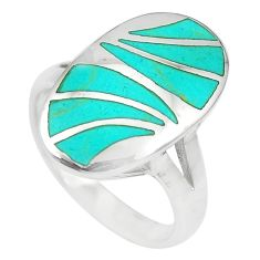 7.02gms fine green turquoise enamel 925 sterling silver ring size 8.5 a88536