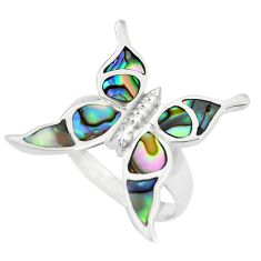 5.26gms green abalone paua seashell 925 silver butterfly ring size 7.5 a88567