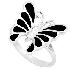 4.69gms black onyx enamel 925 silver butterfly ring jewelry size 8 a88688