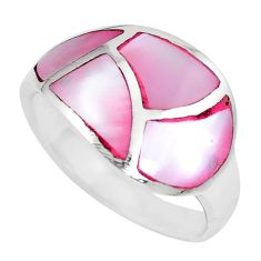 4.25gms pink pearl enamel 925 sterling silver ring jewelry size 7 a88711