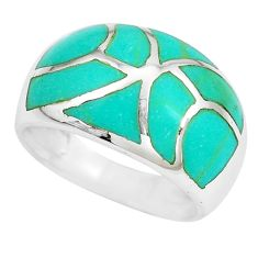 5.02gms fine green turquoise enamel 925 sterling silver ring size 6 a88719