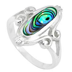 3.26gms green abalone paua seashell enamel 925 silver ring size 6 a88773