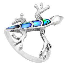 3.69gms green abalone paua seashell 925 silver lizard ring size 7 a88781