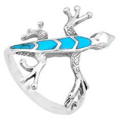 3.89gms fine blue turquoise enamel 925 sterling silver lizard ring size 7 a88810