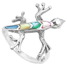 4.02gms multi color blister pearl enamel 925 silver lizard ring size 7.5 a88828