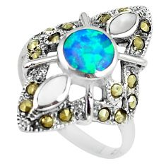Blue australian opal (lab) marcasite 925 silver solitaire ring size 8 a89143