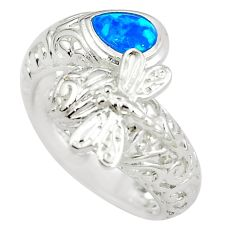 1.09cts blue australian opal (lab) pear 925 sterling silver ring size 9 a89266