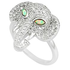 Pink australian opal (lab) marquise topaz 925 silver elephant ring size 8 a89413