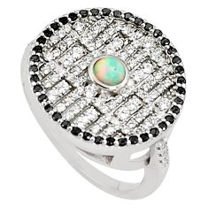 3.01cts pink australian opal (lab) topaz 925 sterling silver ring size 8 a89471