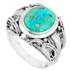 925 silver 5.24cts natural green kingman turquoise solitaire ring size 8 a89654