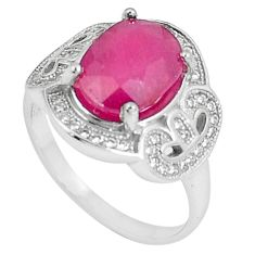 6.83cts natural red ruby topaz 925 sterling silver ring jewelry size 7.5 a89840