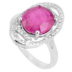 6.27cts natural red ruby white topaz 925 sterling silver ring size 8 a89845