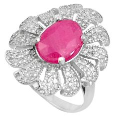7.13cts natural red ruby white topaz 925 sterling silver ring size 8.5 a89862