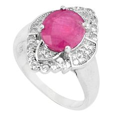 6.33cts natural red ruby white topaz 925 sterling silver ring size 7 a89878