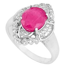 6.59cts natural red ruby white topaz 925 sterling silver ring size 8 a89889