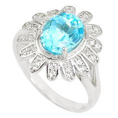 925 sterling silver 6.08cts natural blue topaz white topaz ring size 8 a89964