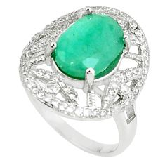 6.84cts natural green emerald white topaz 925 silver ring size 7 a89983