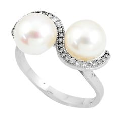 6.82cts natural white pearl white topaz 925 sterling silver ring size 8.5 a90062