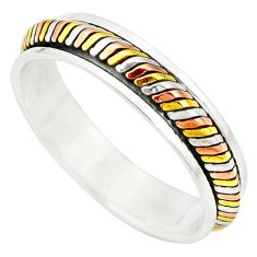 5.27gms victorian 925 silver two tone spinner band ring jewelry size 13 a90146