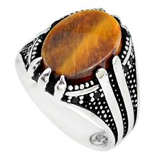 6.31cts brown tiger's eye 925 sterling silver mens ring jewelry size 8 a90342