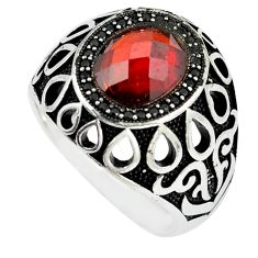 925 silver 5.21cts red garnet quartz black topaz mens ring size 10.5 a90345