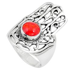 925 sterling silver 1.00cts red coral hand of god hamsa ring size 7 a90853